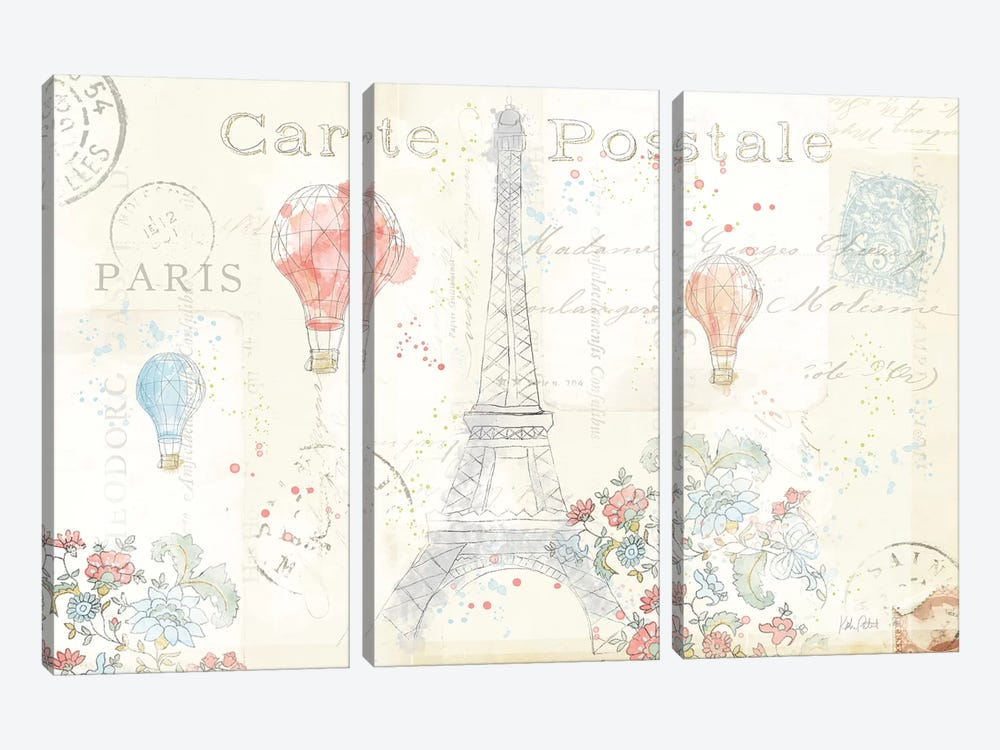 Lighthearted In Paris I by Katie Pertiet 3-piece Canvas Art