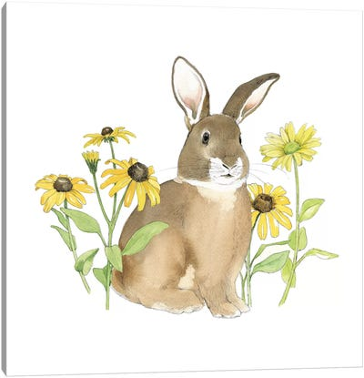 Wildflower Bunnies III Canvas Art Print