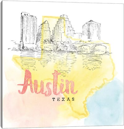 US Cities Series: Austin, Texas Canvas Art Print