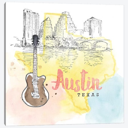 Austin, Texas (Guitar) Canvas Print #WAC5100} by Beth Grove Canvas Art Print