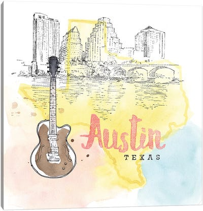US Cities Series: Austin, Texas (Guitar) Canvas Art Print