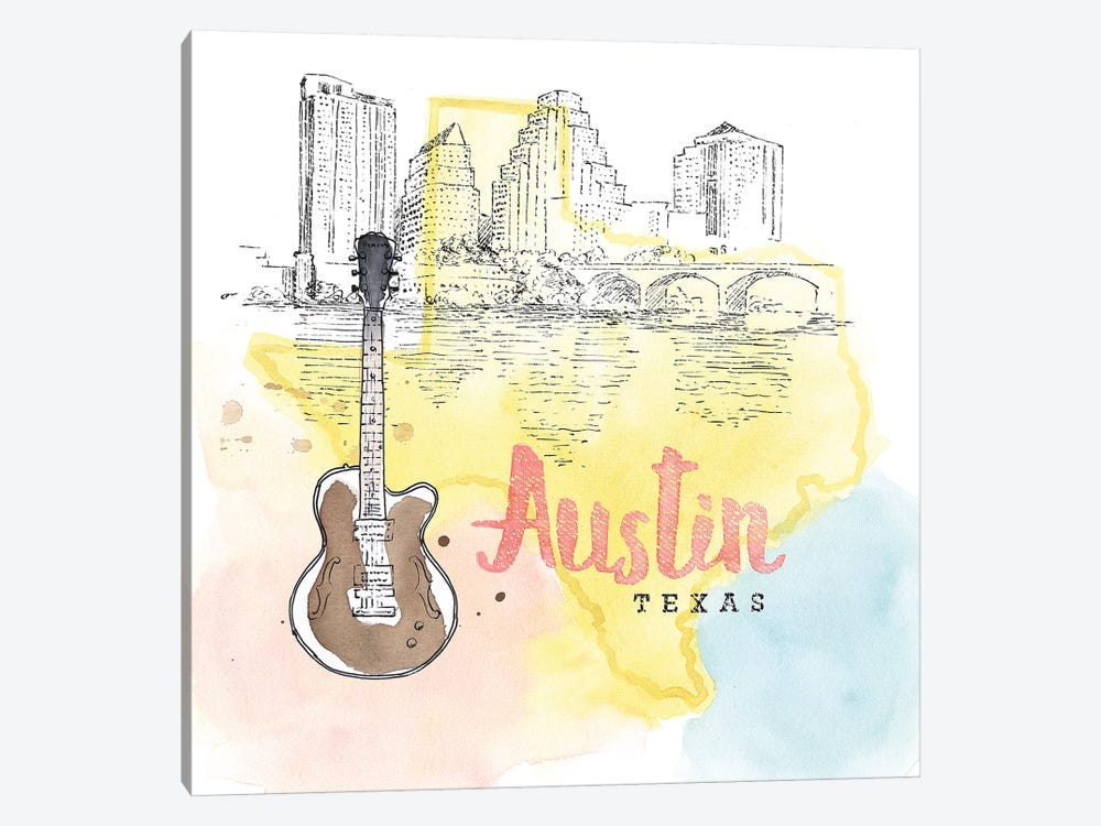 Austin, Texas (Guitar) by Beth Grove 1-piece Canvas Art Print
