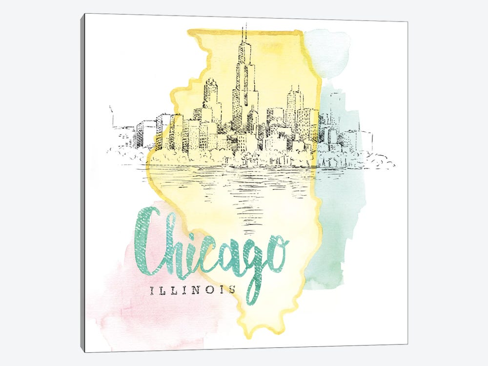 US Cities Series: Chicago, Illinois 1-piece Canvas Wall Art