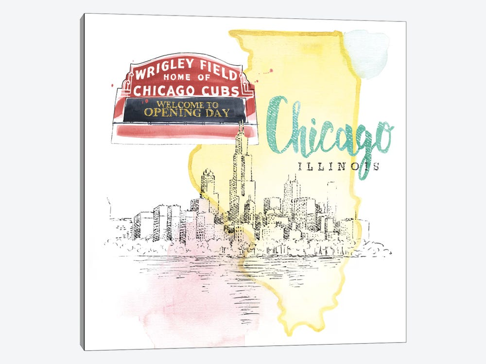 Chicago, Illinois (Wrigley Field Marquee) 1-piece Canvas Art Print