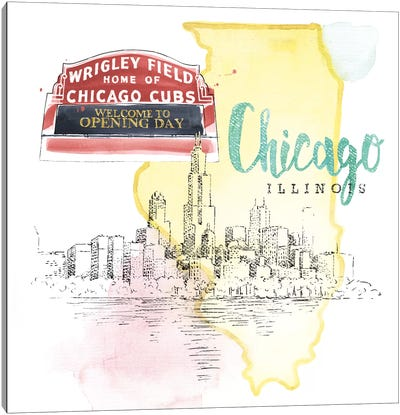 Chicago, Illinois (Wrigley Field Marquee) Canvas Art Print