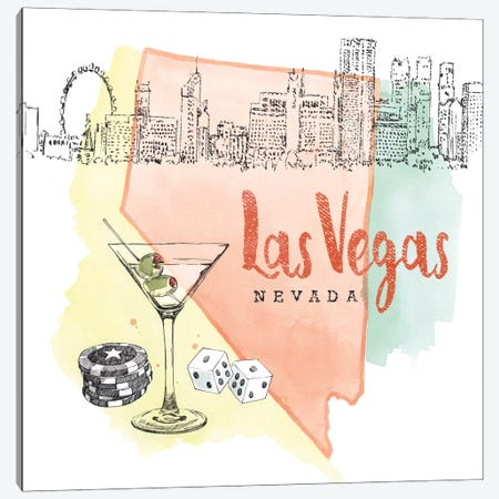 Las Vegas, Nevada (Martini, Dice & Chips) Canvas Print #WAC5104} by Beth Grove Canvas Wall Art