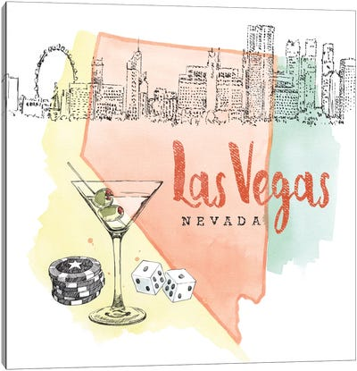 Las Vegas, Nevada (Martini, Dice & Chips) Canvas Art Print