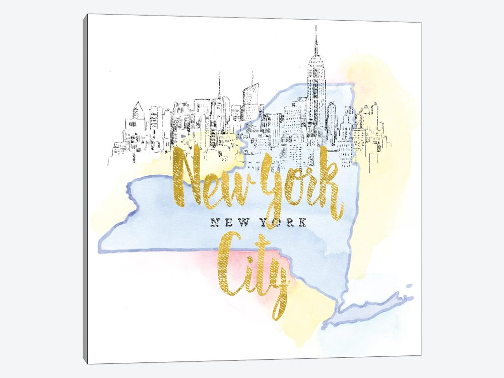 US Cities Series: New York City, New York by Beth Grove 1-piece Canvas Art
