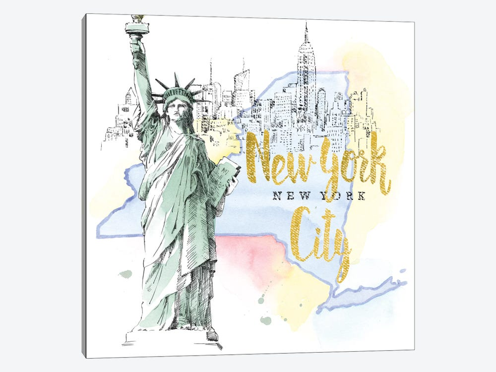 US Cities Series: New York City, New York (Statue Of Liberty) by Beth Grove 1-piece Canvas Print