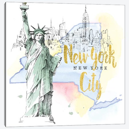 New York City, New York (Statue Of Liberty) 3-Piece Canvas #WAC5106} by Beth Grove Canvas Wall Art