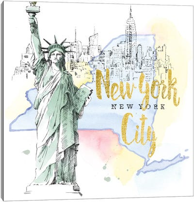 New York City, New York (Statue Of Liberty) Canvas Art Print