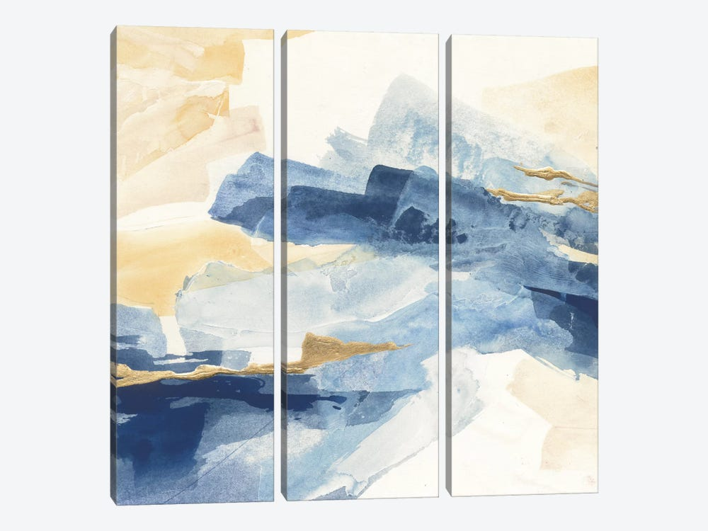 Gilded Indigo I 3-piece Canvas Art