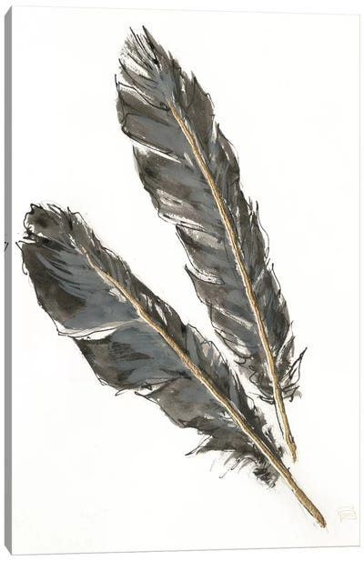 Gold Feathers III On White Canvas Art Print