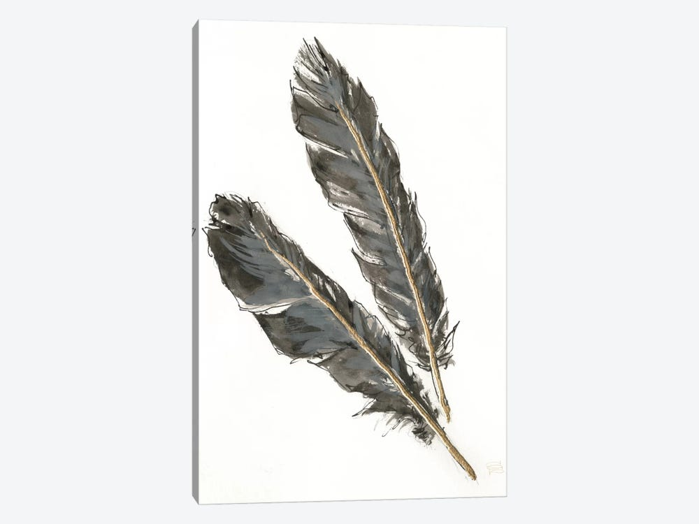 Gold Feathers III On White 1-piece Canvas Art Print