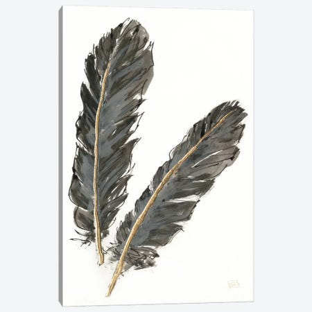 Gold Feathers IV On White Canvas Print #WAC5127} by Chris Paschke Canvas Wall Art