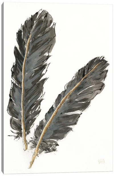 Gold Feathers IV On White Canvas Art Print