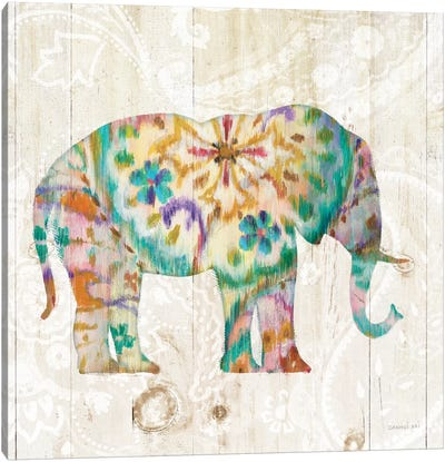 Boho Paisley Elephant I Canvas Art Print