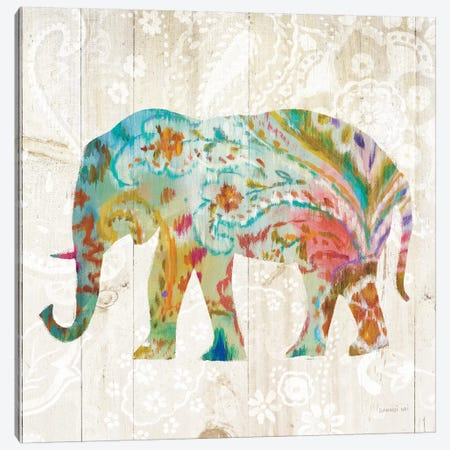 Boho Paisley Elephant II Canvas Print #WAC5138} by Danhui Nai Canvas Artwork