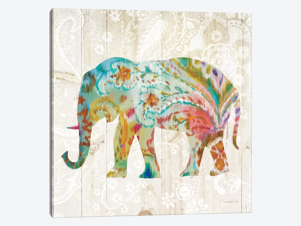 Boho Paisley Elephant II 1-piece Canvas Wall Art