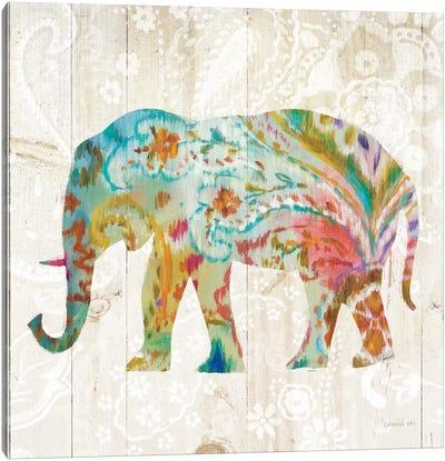 Boho Paisley Elephant II Canvas Art Print