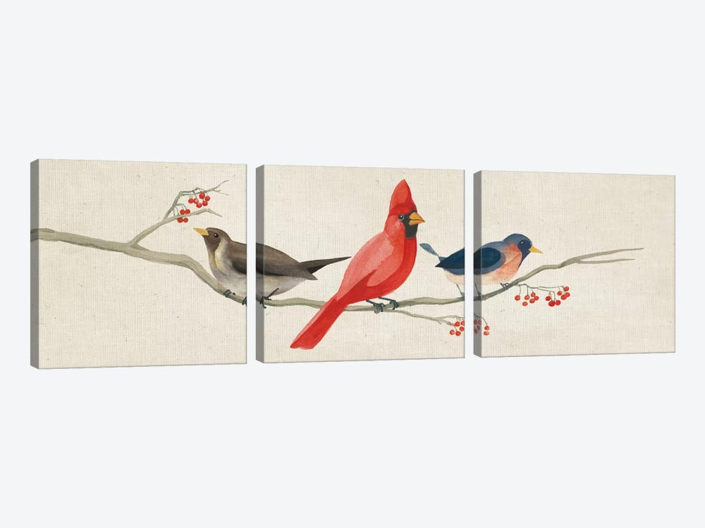 Festive Birds Panel II by Danhui Nai 3-piece Canvas Print