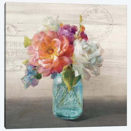 French Cottage Bouquet I Canvas Print #WAC5143} by Danhui Nai Art Print