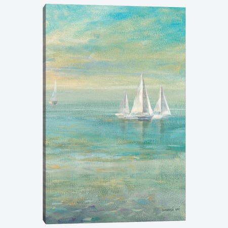 Sunrise Sailboats II Canvas Print #WAC5166} by Danhui Nai Canvas Artwork