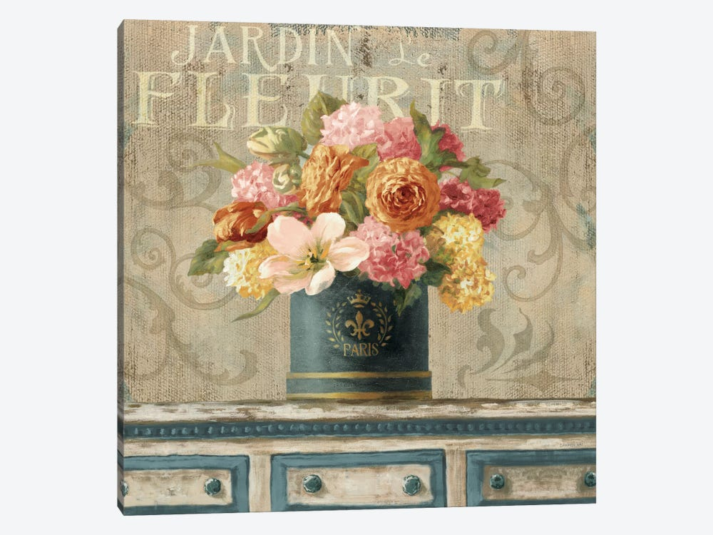 Tulips In Teal And Gold Hatbox by Danhui Nai 1-piece Canvas Artwork