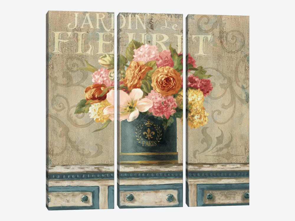 Tulips In Teal And Gold Hatbox by Danhui Nai 3-piece Canvas Artwork