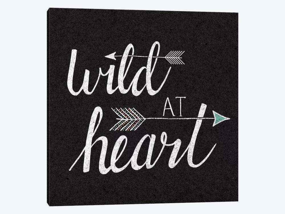 Wild At Heart On Black by Laura Marshall 1-piece Canvas Print