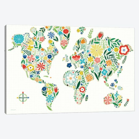 Floral World Map Canvas Print #WAC5197} by Michael Mullan Canvas Art Print