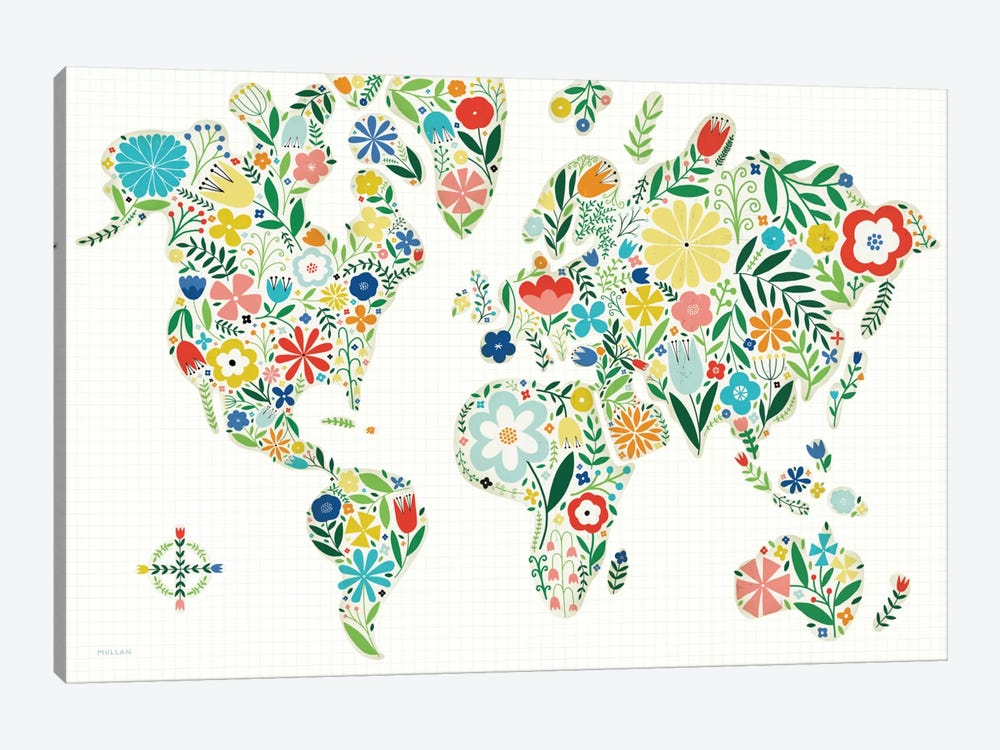 Floral World Map by Michael Mullan 1-piece Canvas Print