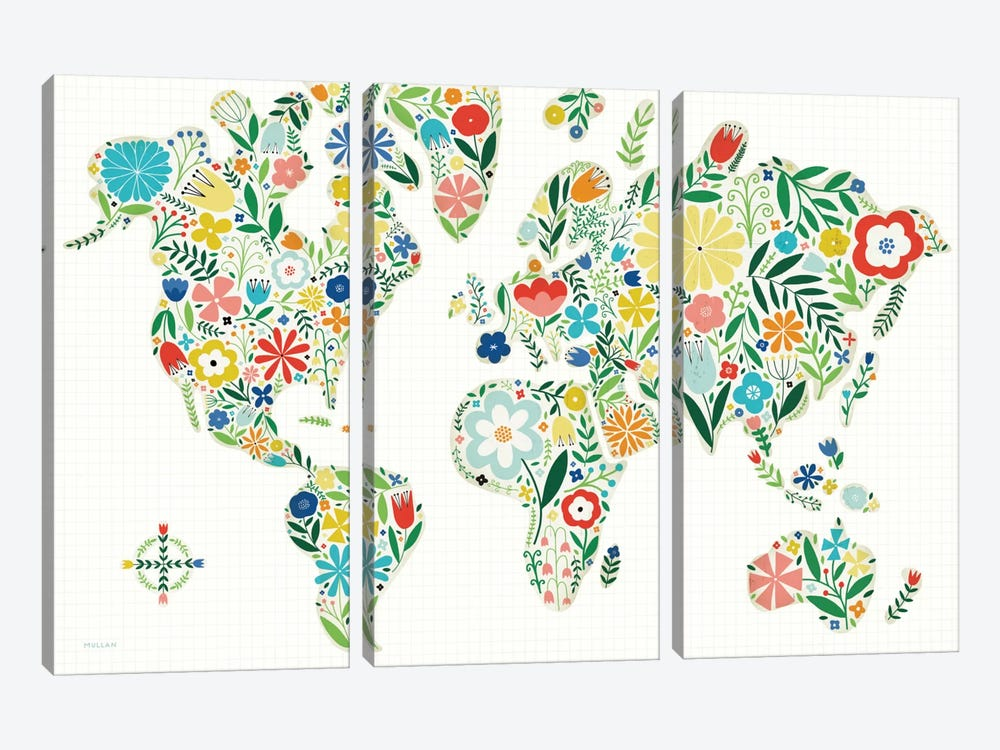 Floral World Map by Michael Mullan 3-piece Art Print