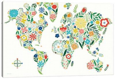 Floral World Map Canvas Art Print