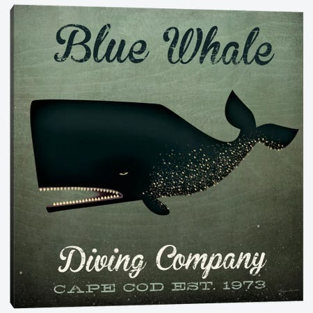 Blue Whale Diving Co. Canvas Print #WAC5214} by Ryan Fowler Canvas Artwork