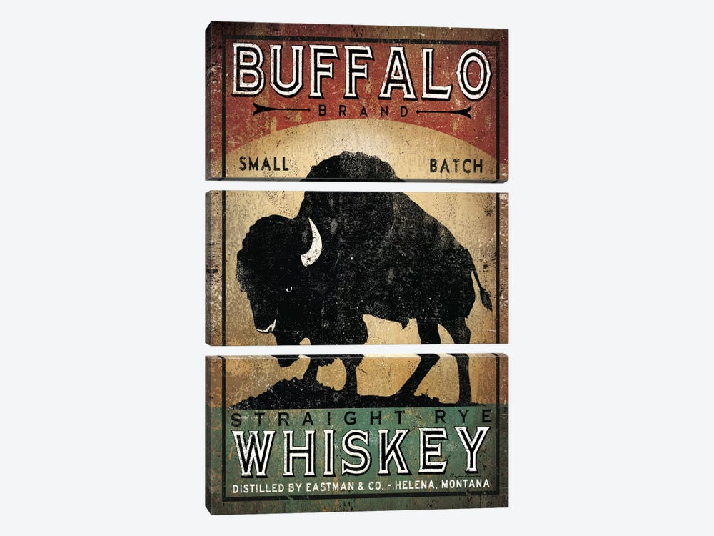 Buffalo Brand Small Batch Straight Rye Whiskey by Ryan Fowler 3-piece Canvas Wall Art