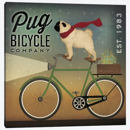 Pug Bicycle Co. Canvas Print #WAC5223} by Ryan Fowler Canvas Art