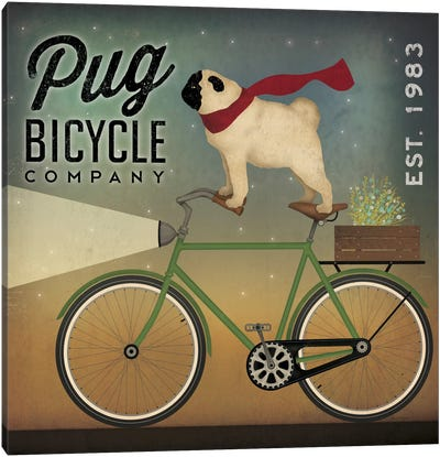 Pug Bicycle Co. Canvas Art Print