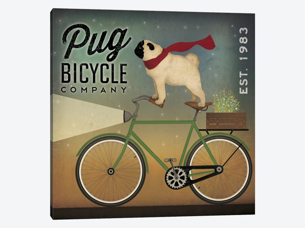 Pug Bicycle Co. by Ryan Fowler 1-piece Canvas Wall Art