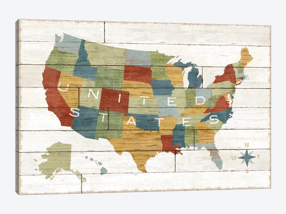 Barnboard Map by Sue Schlabach 1-piece Canvas Art
