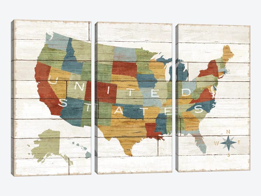 Barnboard Map by Sue Schlabach 3-piece Canvas Artwork