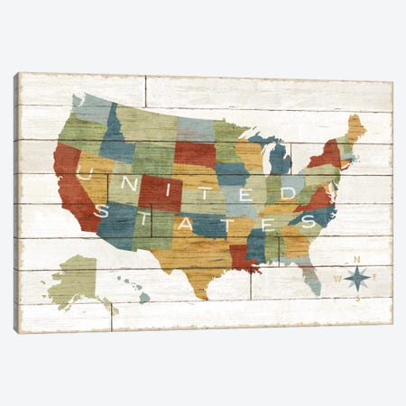 Barnboard Map Canvas Print #WAC5238} by Sue Schlabach Canvas Art Print