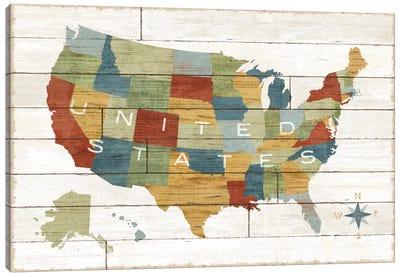 Barnboard Map Canvas Art Print