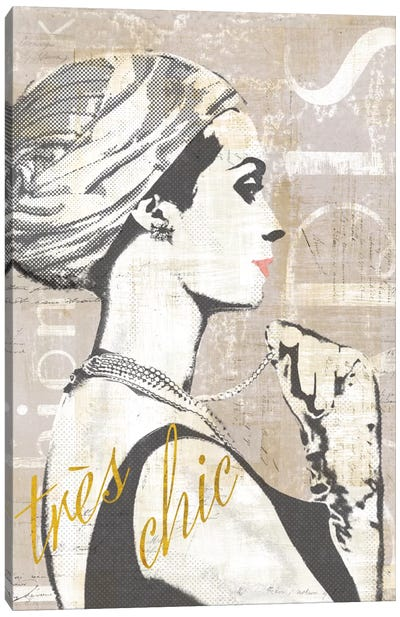 Fashion Week Paris Halftone III (tres chic) Canvas Print #WAC5248