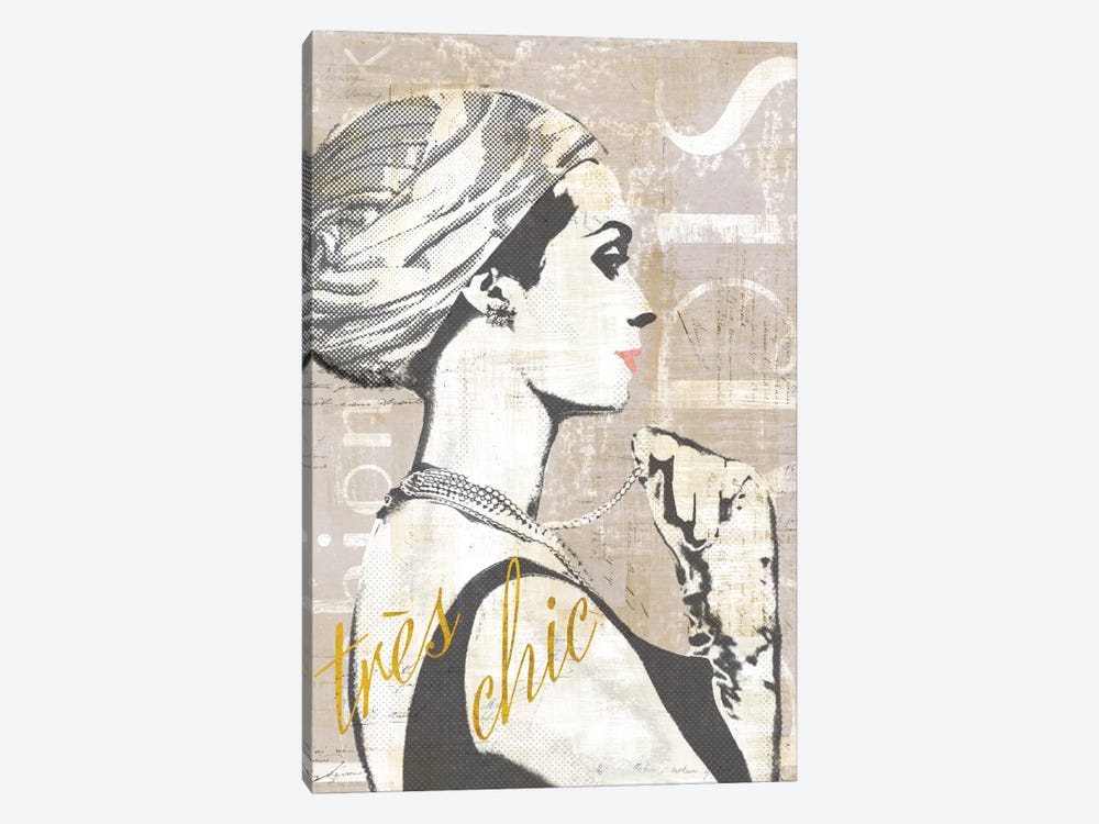 Fashion Week Paris Halftone III (tres chic) by Sue Schlabach 1-piece Canvas Art Print
