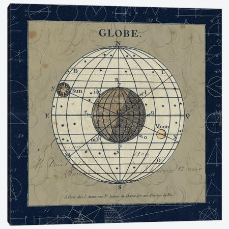 Globe On Blue Canvas Print #WAC5251} by Sue Schlabach Canvas Print