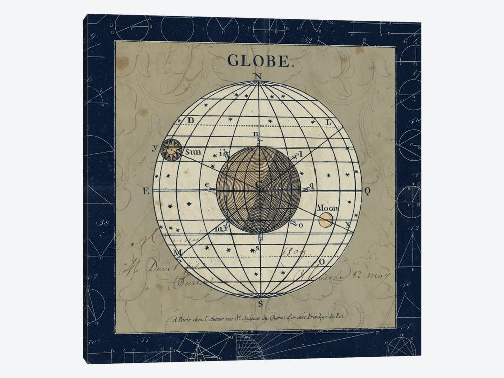 Globe On Blue by Sue Schlabach 1-piece Canvas Print