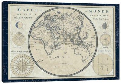 Mappe Monde Sur Le Plan D'un Meridien Canvas Art Print