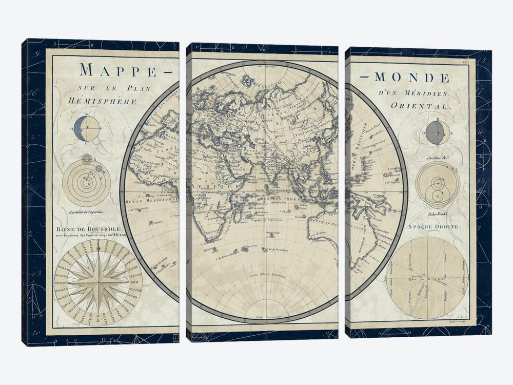 Mappe Monde Sur Le Plan D'un Meridien by Sue Schlabach 3-piece Canvas Wall Art