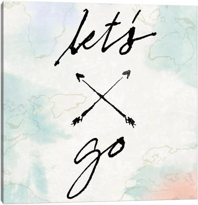 Mapped Shorelines Typography I (Let's Go) Canvas Art Print